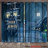BlountDecor Nautical Indoor Outdoor Curtain Cartoon Pirate Ship Moon W120 x L108