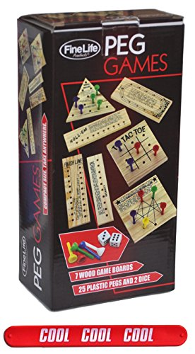 FineLife Products Set of 7 Wood Portable Games Novelty Gift Idea for Kids Boys Girls Teens with COOL Slapstick by FineLife Products