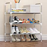 FKUO 3-Layer Shoe Rack with handrail Nonwovens Easy Assembled Shoes Shelf Storage Organizer Stand Holder Keep Room Neat Door Space Saving