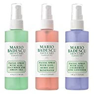 Mario Badescu Spritz Mist and Glow Facial Spray Collection, 3 Piece Set - Lavender, Cucumber, Rose
