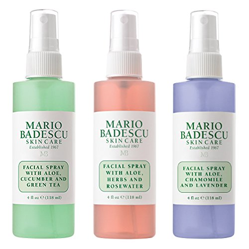 Mario Badescu Spritz Mist and Glow Facial Spray Collection, 3 Piece Set - Lavender, Cucumber, Rose (Mist Skin)