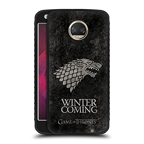 (Official HBO Game Of Thrones Stark Dark Distressed Sigils Black Armour Lite Case for Motorola Moto Z2)