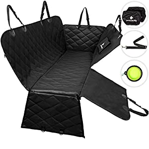 BarkinBuddy Back Seat Cover for Dogs - Car Dog Hammock for Back Seat - Full Doors Protection - Backseat Dog Cover for Car, SUV, Truck with 2 Headrest Covers, Collapsible Bowl, Dog Seat Belt 15