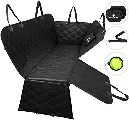 BarkinBuddy Back Seat Cover for Dogs – Car Dog Hammock for Back Seat – Full Doors Protection – Backseat Dog Cover for Car, SUV, Truck with 2 Headrest Covers, Collapsible Bowl, Dog Seat Belt