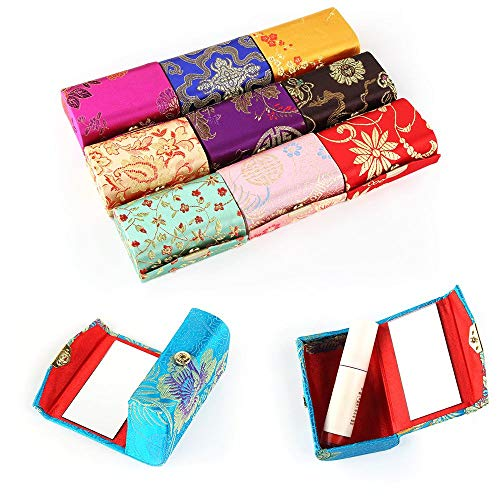 Mini Travel Makeup Bag with Mirror- Double case Womens Silk Brocade Lipstick Holder case WITH MIRROR Makeup Lippy