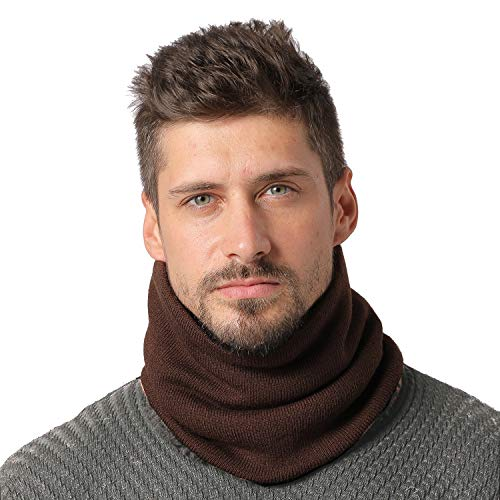 NovForth Winter Neck Warmer Fleece Lined Infinity Scarf Thicken Windproof and Dust Skiing Scarf Circle Scarf for Mens Womens Boys Girls(Brown)