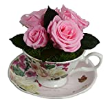 Luxe Bloom Home Collection Rose Porcelain Tea Cup with Five Fresh Cut Preserved Ballet Pink Roses Lasts 60 days