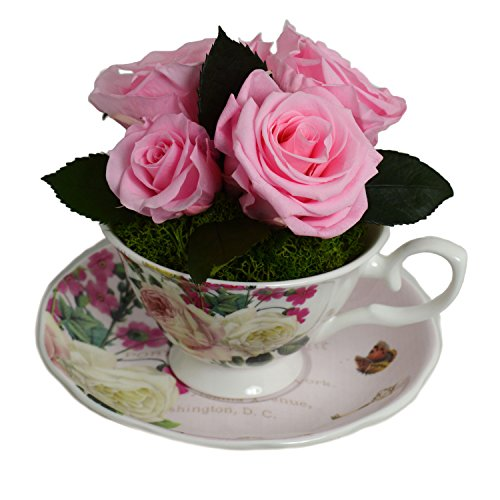 Luxe Bloom Home Collection Rose Porcelain Tea Cup with Five Fresh Cut Preserved Ballet Pink Roses Lasts 60 days by Luxe Bloom