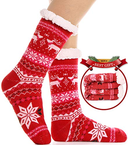 Womens Slipper Socks Fuzzy Warm Thick Heavy Fleece lined Christmas Stockings Fluffy Winter Socks With Grippers (Red)