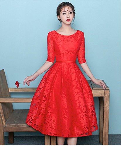 Damen Linie Kleid A Drasawee Rot dxaUwqX