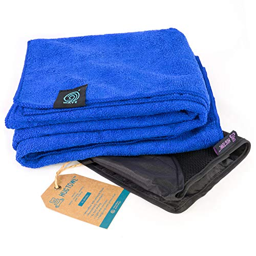 9th WAVE HugTowl Luxuriously Soft Microfiber Travel Towel - Quick Dry, Antibacterial and Lightweight. Take it to The Pool, Camping, Gym, Boating. Gift idea for Women, Men or Kids (X-Large, Blue)