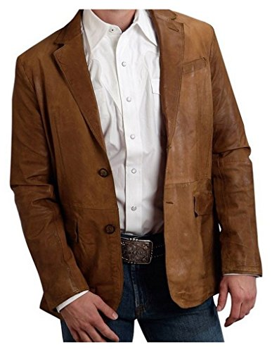 Leather Sport Coat With 1pocket Back Yoke Stetson Men146s Collection-outerwear (xl) - Xl Stetson Collection