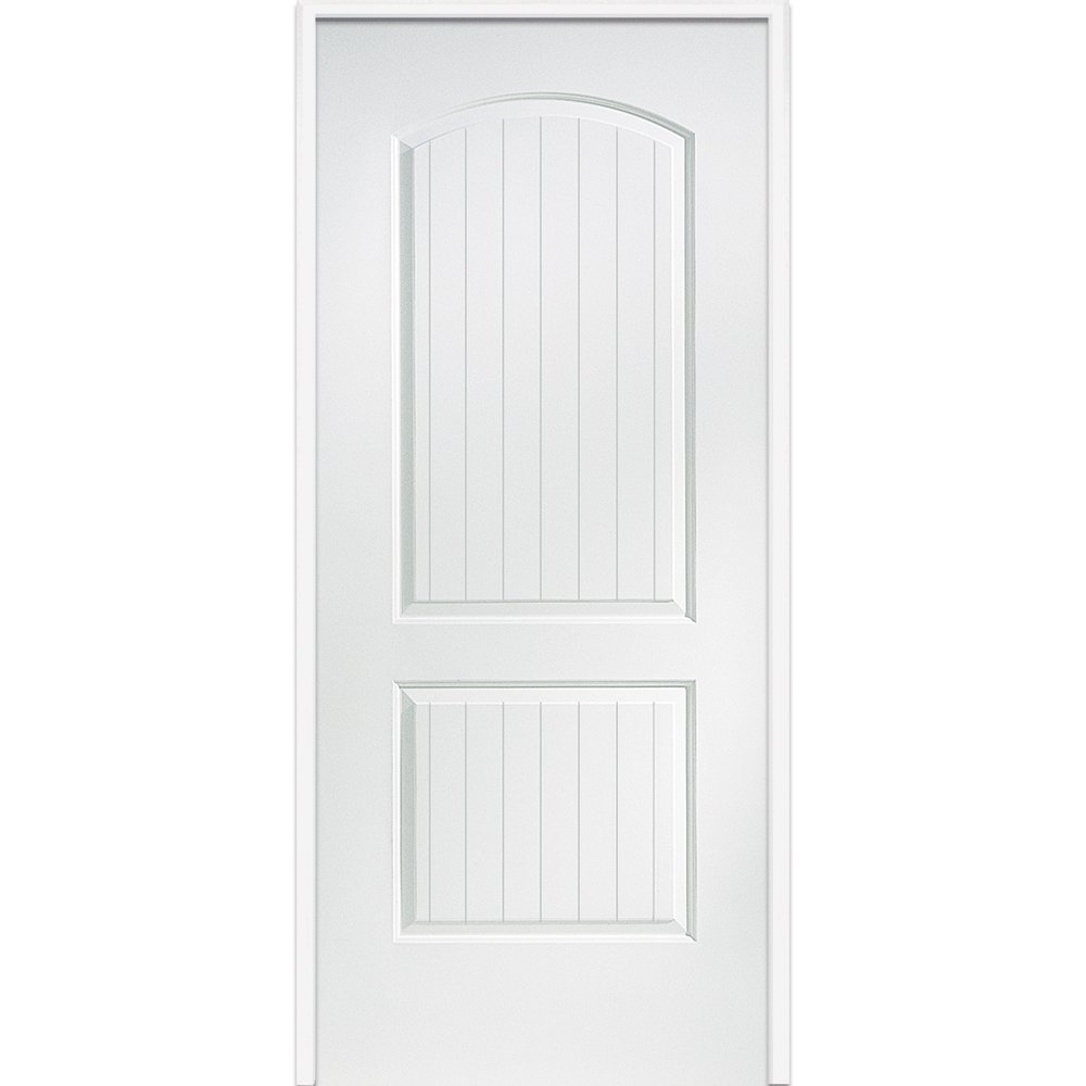 National Door Z0364402R  20-Minute Fire Rated MDF Door, Primed, Right-Hand/Inswing, 2-Panel Planked, 32''x80''