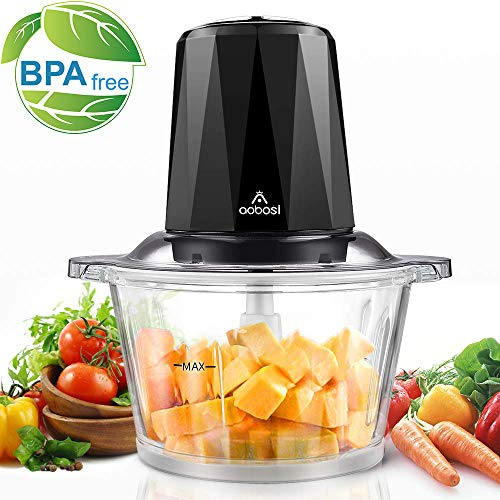 Electric Food Chopper, Aobosi Food Processor with 1.8L BPA-Free Glass Bowl, Braking Function, 2 Speeds Control, 4 Stainless Steel Blades, 300W-Ideal for Meat, Vegetables, Fruits and Nuts (Best Small Electric Chopper)