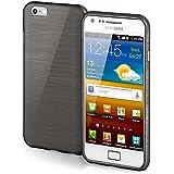 Funda protectora OneFlow para funda Samsung Galaxy S2 / S2 Plus Carcasa silicona TPU 1,5mm | Accesorios cubierta protección móvil | Funda móvil paragolpes bolso cepillado aluminio diseño en Slate-Black