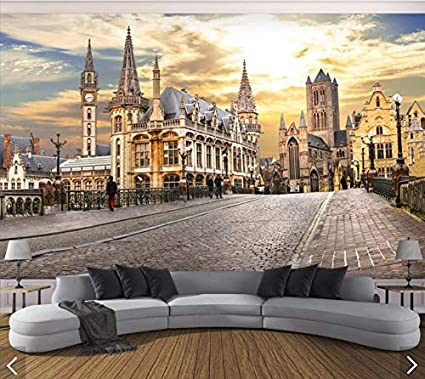 Nordic City Construction Street Wallpaper Wall Mural