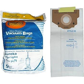 9 Eureka Type RR Upright Allergy Vacuum Bags, Omega Upright, Ultra, Boss Smart Vacuum Cleaners, 4800 Series...4870, 4874, 4875, 61115, 61115-12 (Filteraire), 4870GZ, 4870GZX, 4870J, 4870K, 4870M, 4870MZ