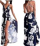 Women Halter Dress,Boho Strappy Floral Maxi Dress Backless Party Sundrss Axchongery (M, Navy)