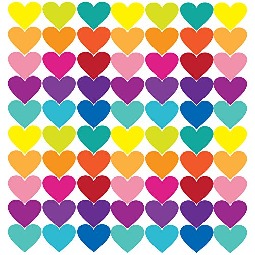 Cloudk PL-1603 60 Pieces Color Rainbow Heart Wall Decals Stickers, Peel and Stick Eco-Friendly Reusable Wall Stickers with Gift Packaging for Kids Room