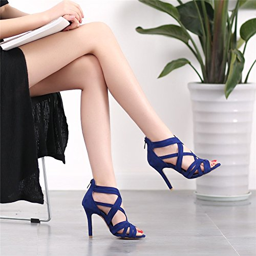 Exing Scarpe Da Donna Scarpe Basse Romanzo Scarpe Sandali Alti Top In Pelle Scamosciata Estate Stivali Casual Blu Casual