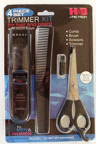 Beard Trimmers Kit for Men- 4 Piece Beard Grooming Kit, Beard Care Products Kit Includes, Beard Comb, Beard Scissors, Beard Brush, Beard Care Products, Great for Beard Trimming, Amazing Gift Idea for Men