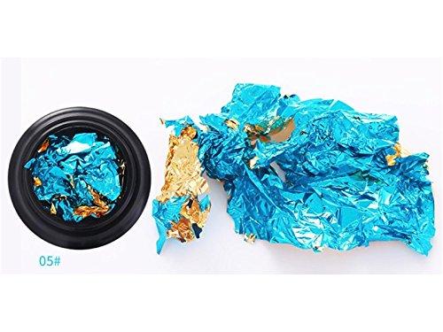 Decalcomania per unghie Nail Tin Foil Powder Flakes Manicure Nail Art Glitters Foil Decorazione Glitter Sparkle Paillettes Pigmento Dust (Golden + Blue) per la decorazione HFjingjing