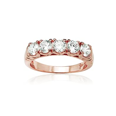 bb923f3141eb7 Rose Gold Flash Sterling Silver Five Stone Eternity Band Ring created with  Swarovski Zirconia