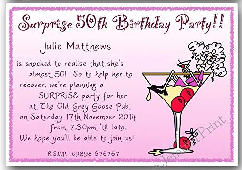10 Personalised Surprise Birthday Party Invitations 30th 40th 50th 60th 65th 70th 80th 90th 100th female funny with envelopes J385: Amazon.co.uk: Handmade