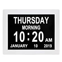 [Newest Version] Dementia Clock Digital Calendar Clock - 8 Alarm Options,Extra Large...
