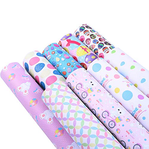 David accessories Printed Faux Leather Sheets Fabric Egg Rabbit Printed Synthetic Leather Canvas Back 9 Pcs 8 x 13 (20 cm x 34 cm) for Easter Day Decoration Earring Making (Easter)