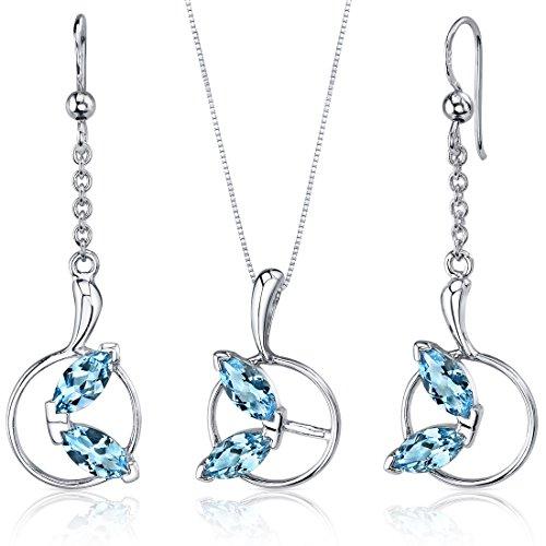 Swiss Blue Topaz Pendant Earrings Set Sterling Silver Rhodium Nickel Finish Marquise Shape 3.00 Carats