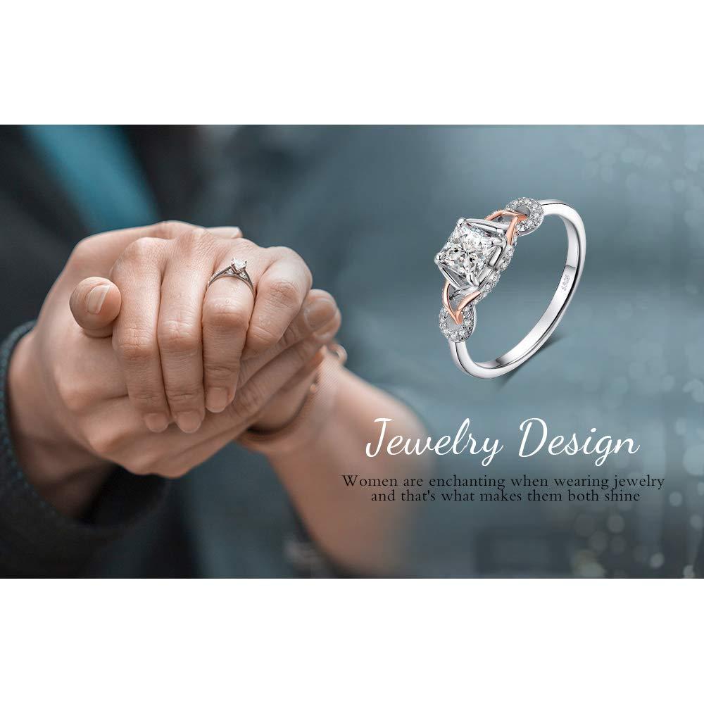 JewelryPalace Infinity 1,2ct Princesse Cut Cubic Zirconia Solitaire Bague de Fian/çailles en Argent Sterling 925