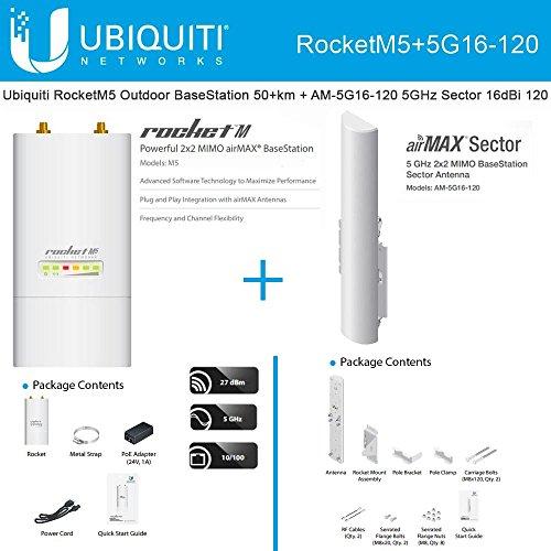 Ubiquiti RocketM5 Outdoor BaseStation 50+km + AM-5G16-120 5GHz Sector 16dBi 120 by Ubiquiti Networks