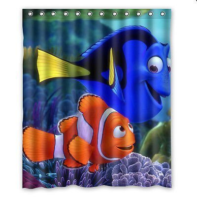Aloundi Shower Curtain,Finding Nemo Custom Polyester Waterproof Bath Rings Included