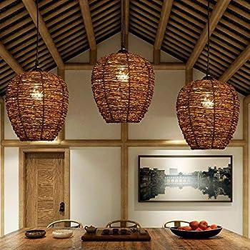 ZXT Wicker Rattan Woven Lamp ,Bamboo Chandelier Retro Wicker Lamp Chandelier Restaurant Tea Room Ceiling Lamp Farmhouse Chandelier (2627CM)