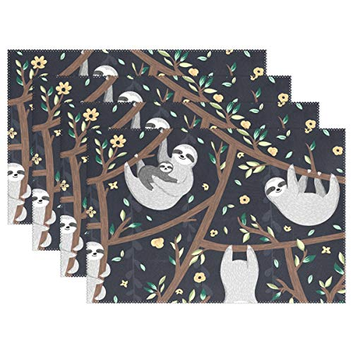 - Placemats Sloth Tree Flower Kitchen Table Mats Resistant Heat Placemat for Dining Table Washable 1 Piece