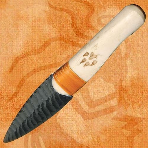 Native Indian Buffalo Rib Obsidian Blade Knife