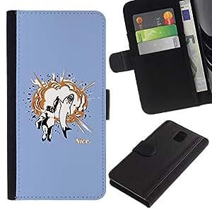 NEECELL GIFT forCITY // Billetera de cuero Caso Cubierta de protección Carcasa / Leather Wallet Case for Samsung Galaxy Note 3 III // Gorila y Great White High Five
