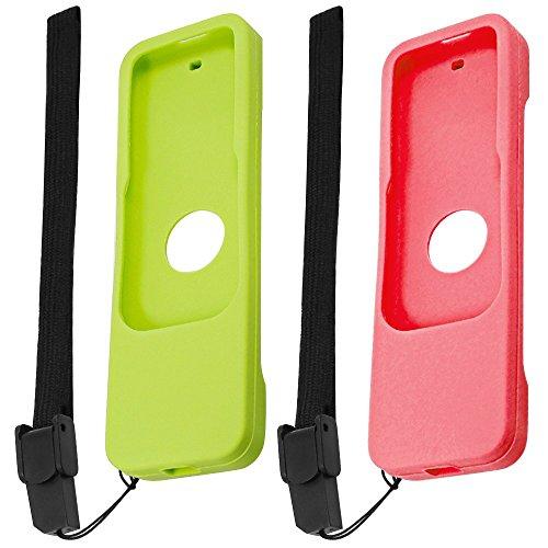 FineGood Funda Protectora para Apple TV 4K 4.ª generación 5. Siri Controles remotos, 2 Piezas Funda Protectora Antideslizante de Silicona para TV 4 4K Remote - Rojo, Verde
