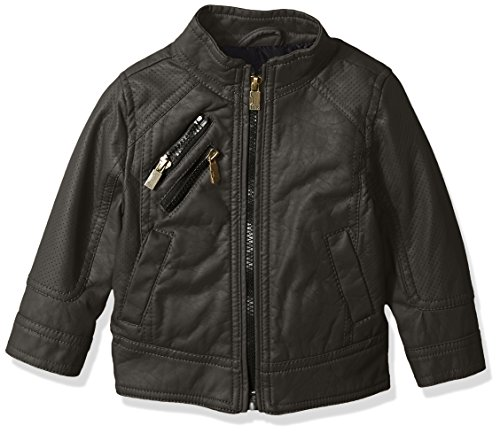 Urban Republic Baby Boys Faux Leather Perforatted Insert Jacket, Darkcharcoal, 12M