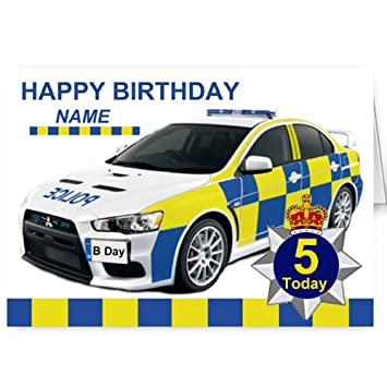 Personalised Police Car Birthday Card Amazoncouk Kitchen Home