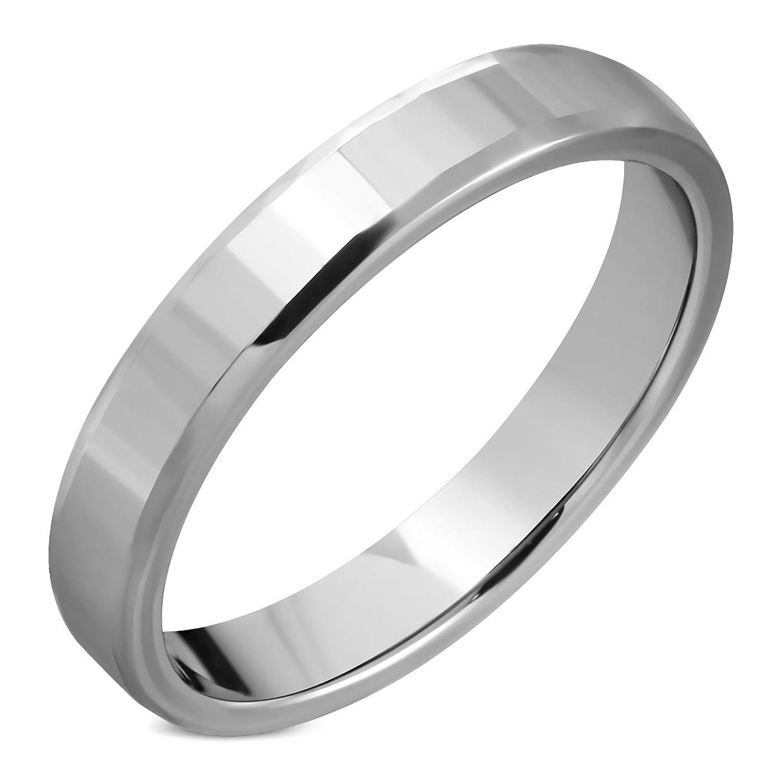 Tungsten Carbide Rectangular Faceted Half-Round Band Ring