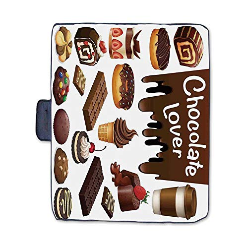 Kitchen Decor Stylish Picnic Blanket,Chocolate Lover Sweets Cake Decorations Pattern Icecream Retro Style Design Cafe Home Mat for Picnics Beaches Camping,58
