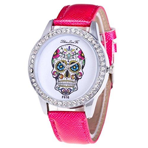 Diamond Dial Quartz Watch, Hosamtel Leather Analog Skull Head Round Case Unisex Watch (Hot Pink) - Round Case Diamond Watch
