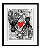 "Octopus Love 11x14 Inch Reproduction Vintage Dictionary Art Print With ""Octopus"" Definition - Unframed"