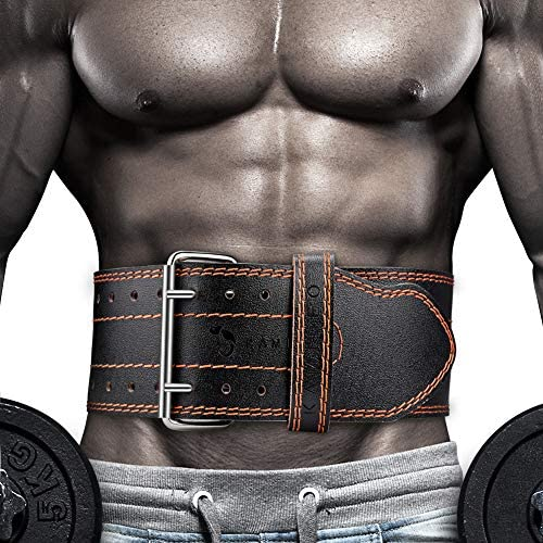 Kamileo Lifting Belt, Weight Lifting Leather Belt with Prong Buckle for Men and Women, Stabilizing Lower Back Support for Powerlifting Squat Deadlifting