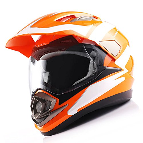 Dual Sport Helmet Motorcycle Full Face Motocross Off Road Bike Racing Orange White by 1Storm (Image #2)