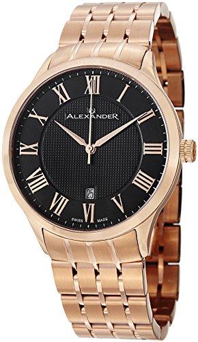 Alexander Statesman Triumph Men's Black Dial Rose Gold Plated Swiss Made Watch A103B-04