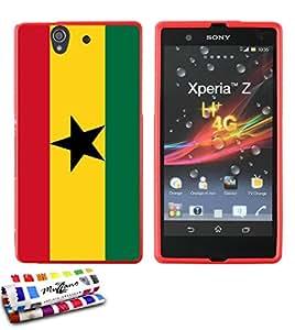 Carcasa Flexible Ultra-Slim SONY YUGA de exclusivo motivo [Ghana Bandera] [Roja] de MUZZANO  + ESTILETE y PAÑO MUZZANO REGALADOS - La Protección Antigolpes ULTIMA, ELEGANTE Y DURADERA para su SONY YUGA