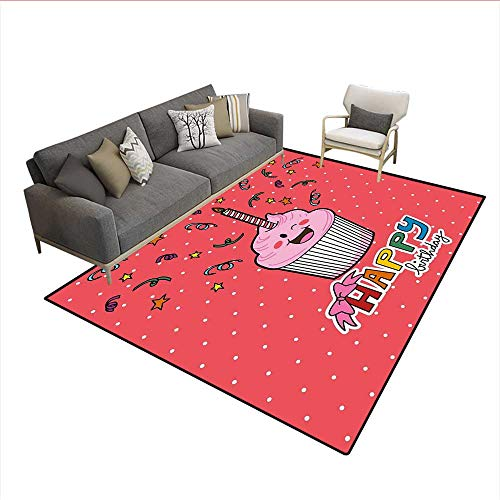 Versace Candle - Carpet,Pink Strawberry Flavor Cupcake with Candle Cute Face Confetti Bow Tie and Dots,Print Area Rug,Multicolor 6'x7'